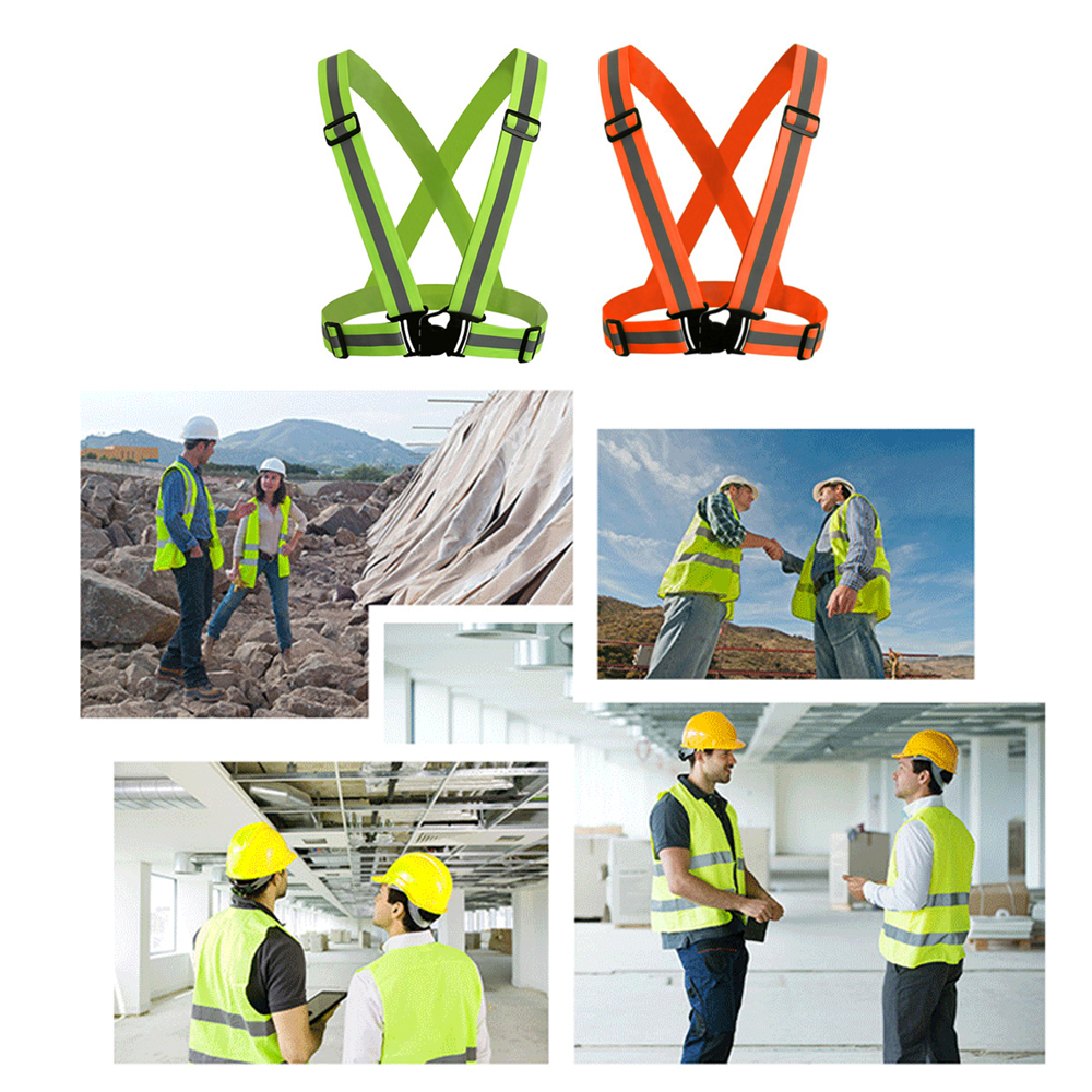 Reflective Vest With High Visibility Bands Tape Multi-Purpose Adjustable Elastic Safety Belt For Night Running Dog Walking
