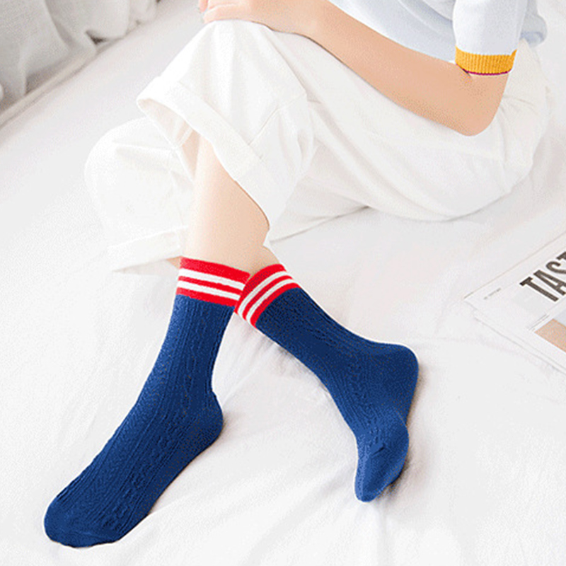 BONJEAN Japan Style Students Women Cute Socks Autumn Winter Two Stripes warm Ankle Socks In Tube Casual Foot Wear black white