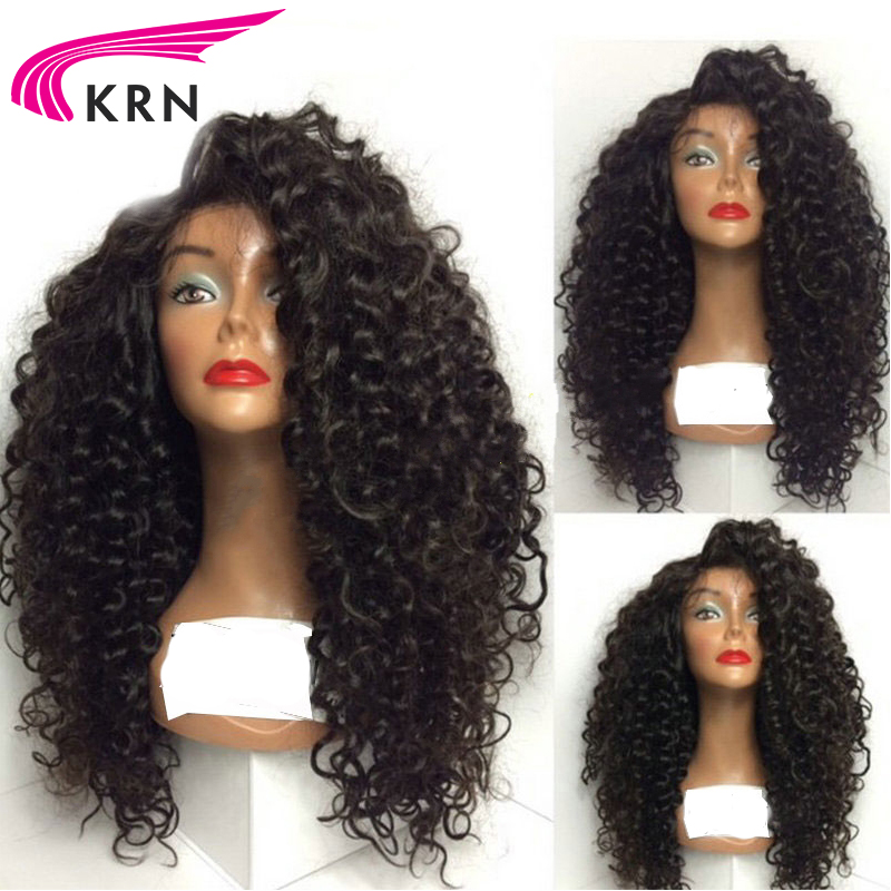 KRN 130 Density Glueless Lace Front Wigs For Black Women 8 24 Inch Curly Remy Pre