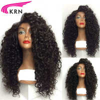KRN 130 Density Glueless Lace Front Wigs For Black Women 8-24 Inch Curly Remy Pre Plucked Brazilian Human Hair Wigs Healthy End