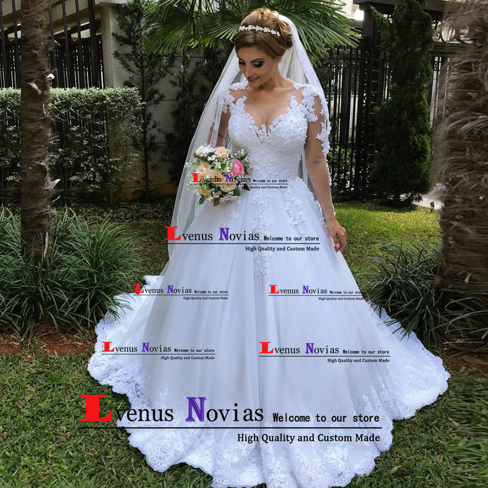 vestido de noiva renda Wedding Gowns Robe Mariage Sexy Bohemian Long Sleeve Wedding Dress 2019 Bride