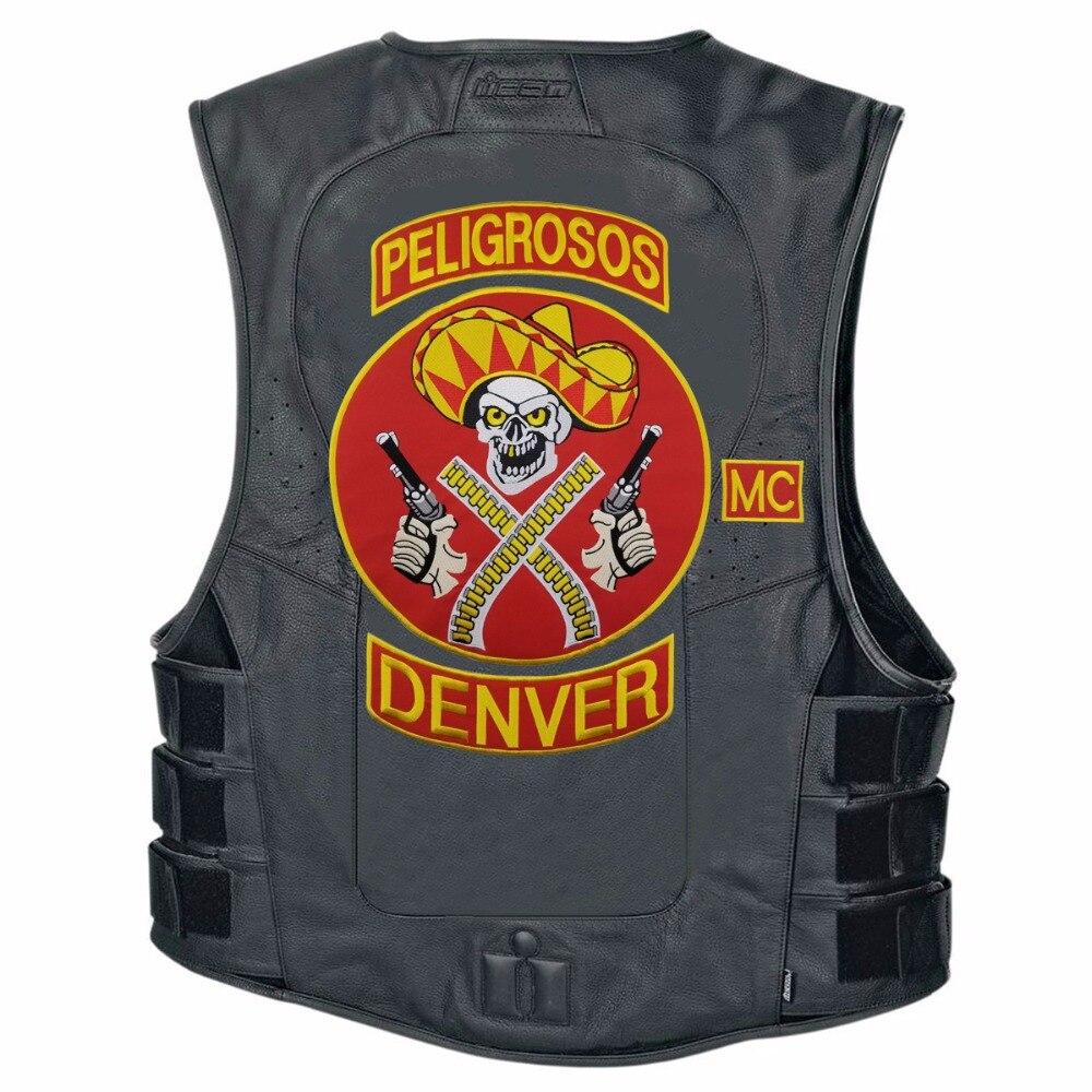 L171213-3 HOT SALE PELIGROSOS DENVER RED COWBOY WITH GUN MOTORCYCLE CLUB VEST OUTLAW BIKER MC JACKET PUNK LARGE BACK IRON ON WEST PATCH (7)