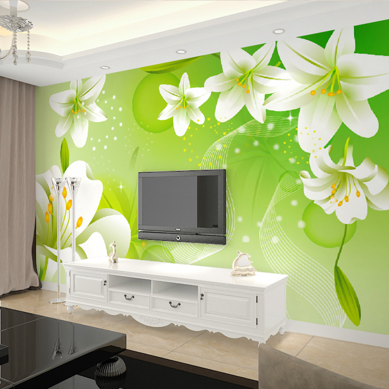 Us 8 92 40 Off Custom 3d Mural Wallpaper Green Lily Large Wall Painting Non Woven Living Room Sofa Bedroom Tv Background Photo Wallpaper Flower In