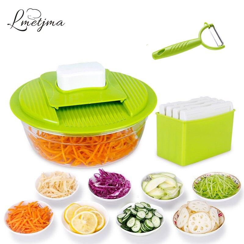 LMETJMA Mandoline Vegetable Slicer Stainless Steel Cutting Vegetable Grater Creative Kitchen Gadget Carrot Potato cutter LK0728A