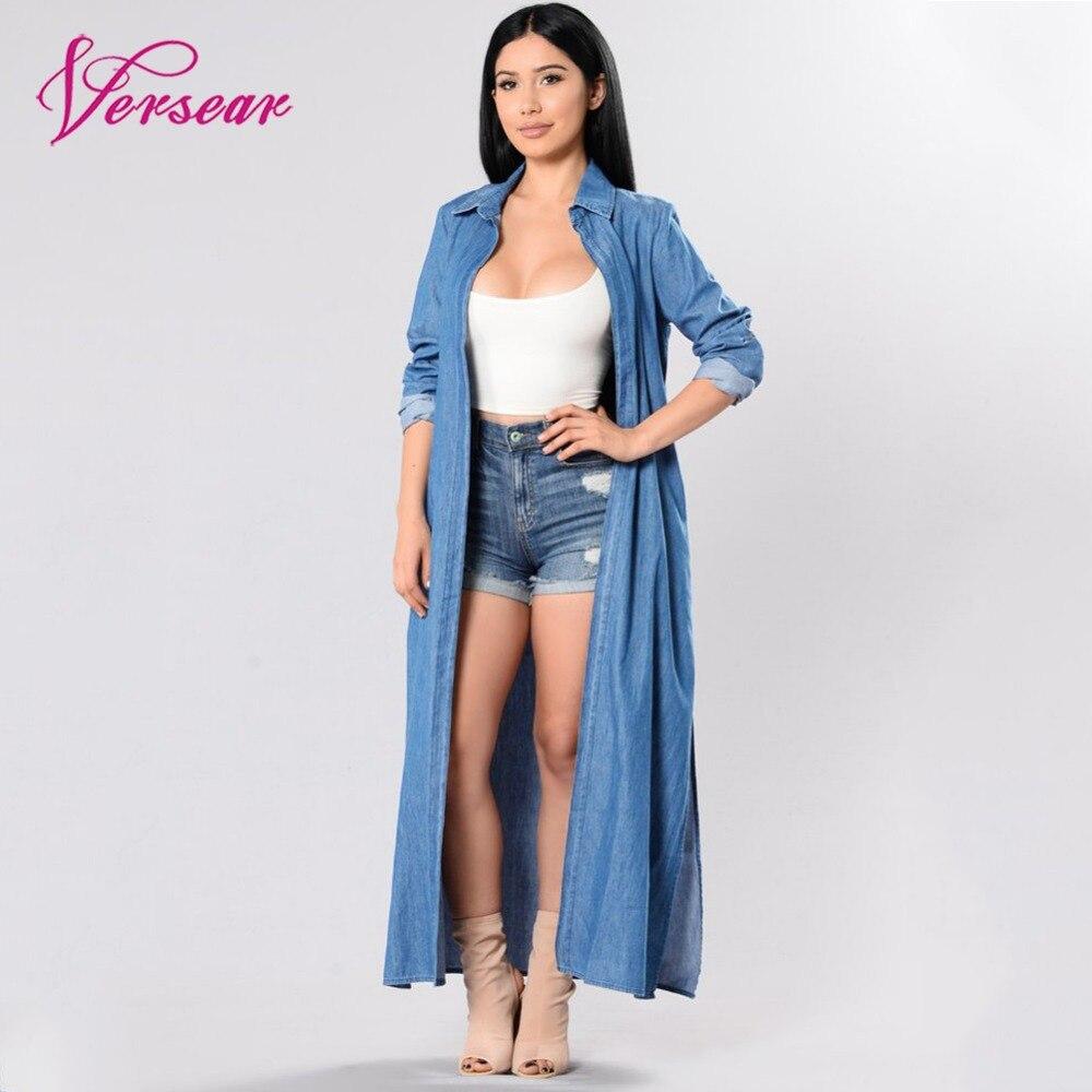 Versear 2019 Fashion Denim Trench Coat For Women Open Front Long Sleeve Side Slit Long Overcoat Casual Blue Outwear Windbreaker