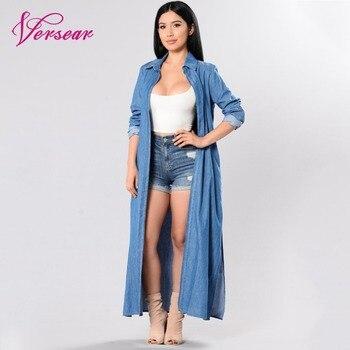 76911d11211 Versear Мода 2019 г. деним пальто для женщин Открыть спереди с длинным  рукавом разрез сбоку длинное пальто повседневное синий Верхняя одежда ветр.