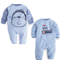 2017 Cartoon Monkey Rompers Newborn Baby Clothing Girls Boys Rompers Sky Blue Toddler Autumn Cotton Long Sleeve Baby Costumes