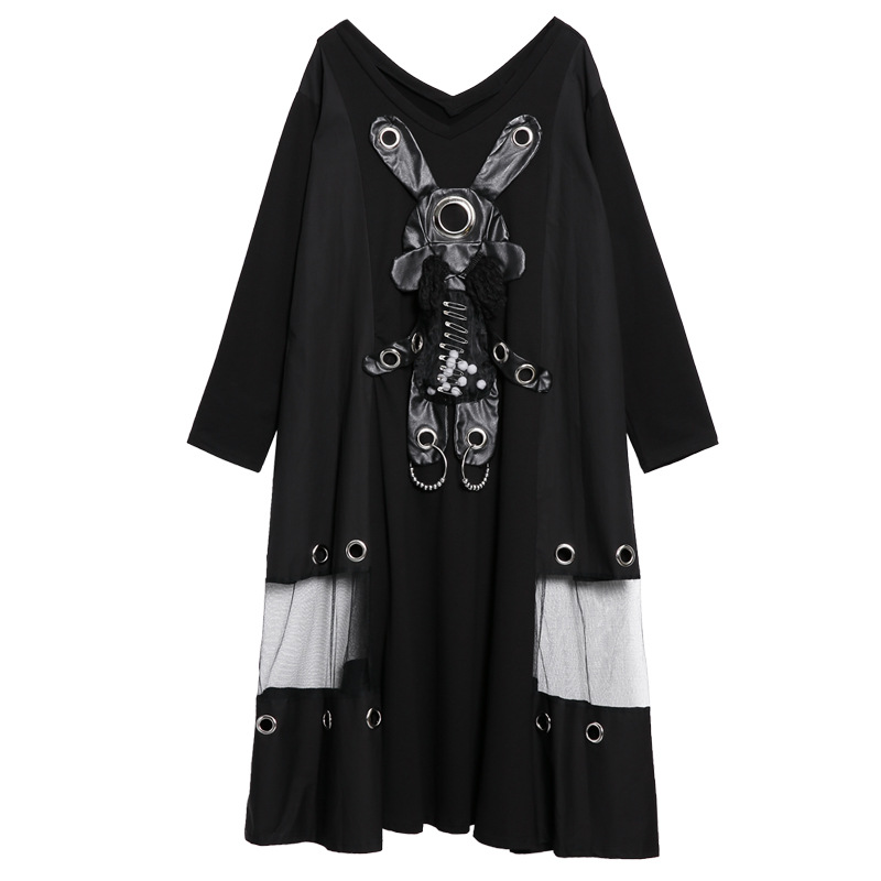 Dot Patch Dress Mesh Spliced Large Size 2019 Spring Women Casual Dress Plus Size Dresses Women Clothing Oversized LT455S30