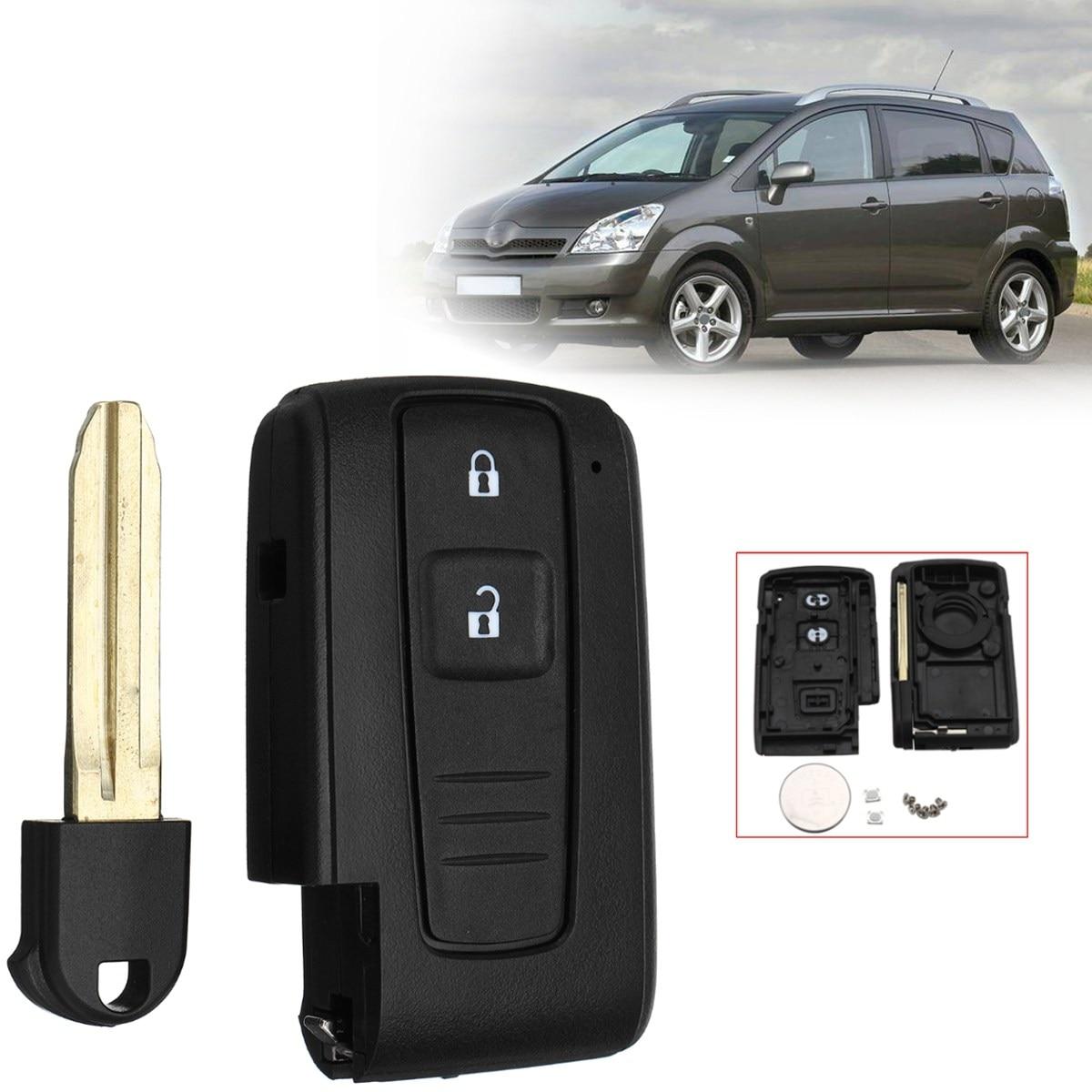 2 Boutons Ouvert Serrure De Voiture À Distance Clé Fob Cas Shell Avec Batterie Pour Toyota Corolla Verso Prius