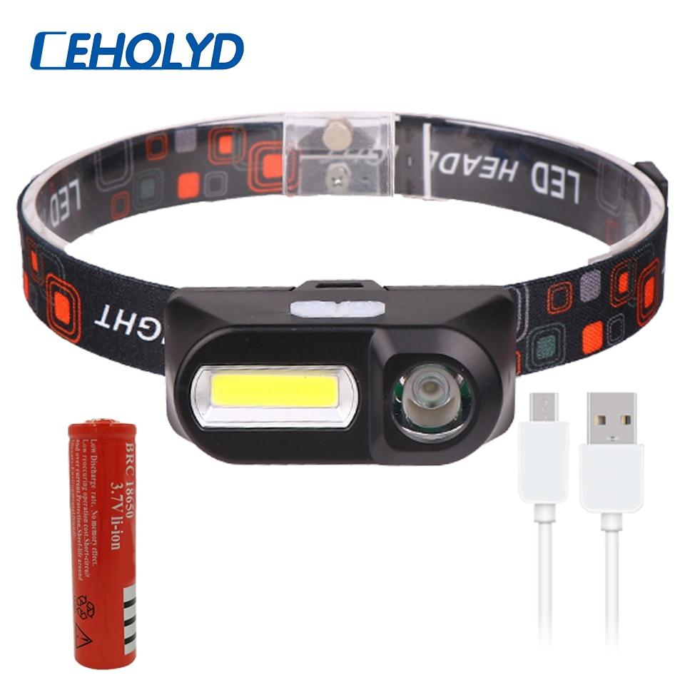 Mini COB LED Headlight Headlamp Head Lamp Flashlight USB Rechargeable 18650 Torch Camping Hiking Night Fishing Light