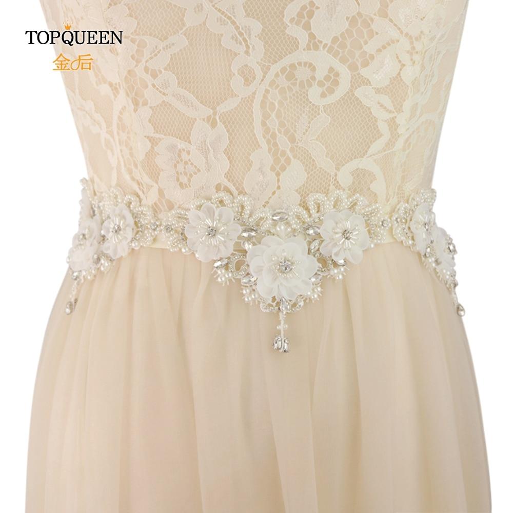 TOPQUEEN S403 Fringe Belt Wedding Flower Belts  Dresses Belt Woman Flowers Party Bridal Floral Belt Beaded Belt Embellished Belt