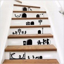 Yanqiao Mouse Hole Cute Animals Stair Sticker Decal Self Adhesive Home Decoration DIY Art Mural Removable