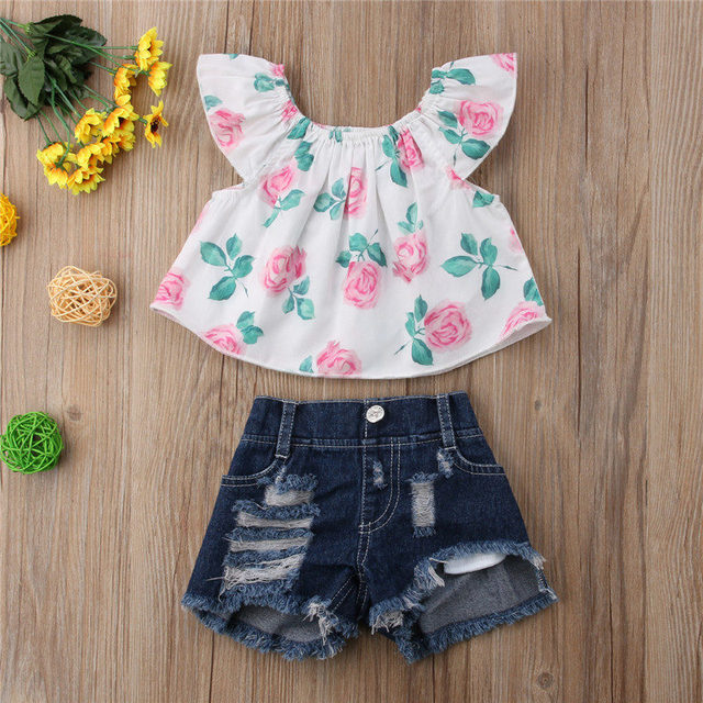 39c3cfef82b PUDCOCO 2PCS Toddler Kid Baby Girl Off Shoulder Tops +Denim Shorts Outfit  Summer Beach Casual Vacation Clothes Set 1-4Y