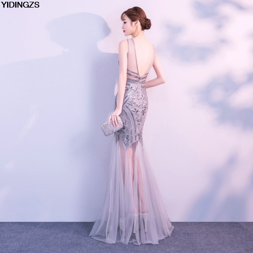 f747dc9d53b1 Robe De Soiree YIDINGZS Sequins Beading Evening Dresses Mermaid Long Formal  Prom Party Dress 2019 New Style ~ Best Seller June 2019