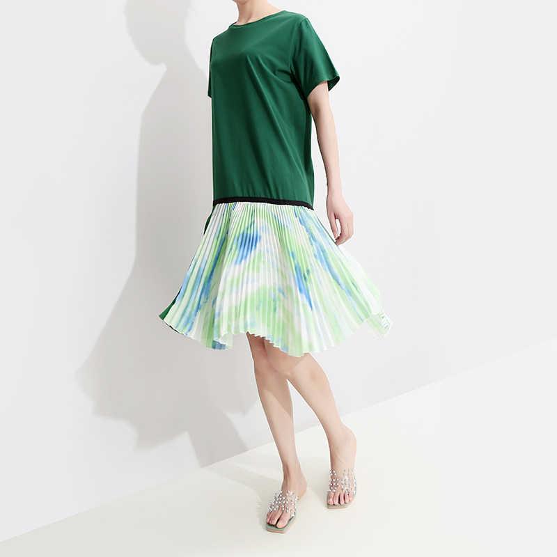 Женское платье составного кроя, свободное зеленое платье до колен с плиссированным шифоновым подолом, модель 5187 в корейском стиле на лето, 2019