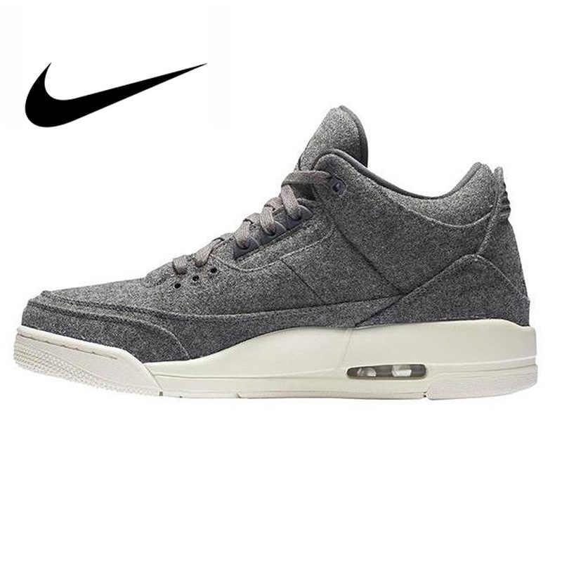 76ef85dac56 Original Authentic Nike Air Jordan 3 Retro Wool Dark Grey Dark Gray Wool  Men's Basketball Shoes
