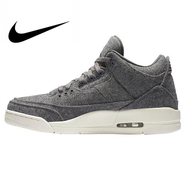 detailed look 814c0 687e4 Original Authentic Nike Air Jordan 3 Retro Wool Dark Grey Dark Gray Wool  Men s Basketball Shoes AJ 3 Men Massage Sport Shoes-in Basketball Shoes  from Sports ...
