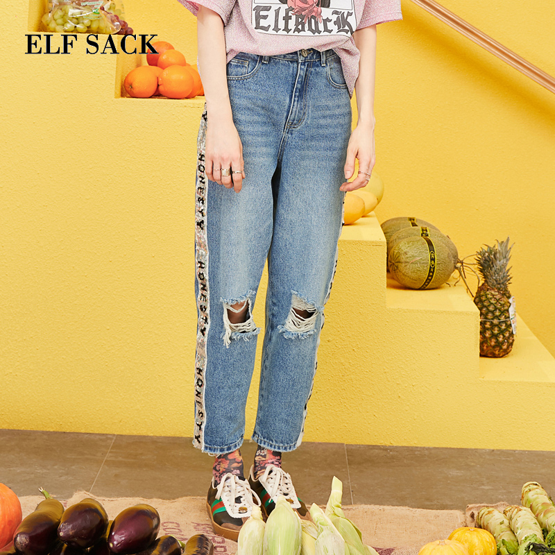 ELF SACK 2019 Spring New Oversized   Jeans   Woman Casual Straight Cotton Women Trousers Mid Waist Light Loose Ladies Plaid Pants