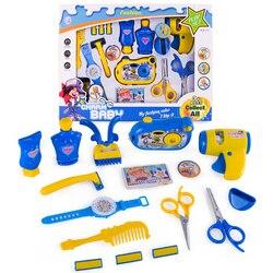 12/16 pçs fingir & play kit brinquedo emulacional secador de cabelo elétrico ferramentas do barbeiro com som e luz para crianças