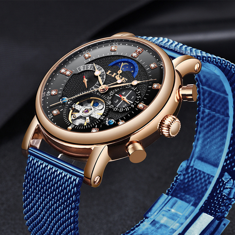 LIGE 2019 business watch men Automatic Luminous clock men Tourbillon waterproof Mechanical watch top brand relogio masculino Lahore