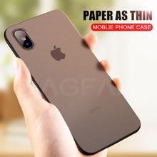NAGFAK 0.29mm Mat Telefon iPhone için kılıf 6 6 S Artı 8 7 Artı Durumda Ultra Ince Sert Kapak iPhone X 5 5 S SE 10 Telefon Çanta Kılıfları