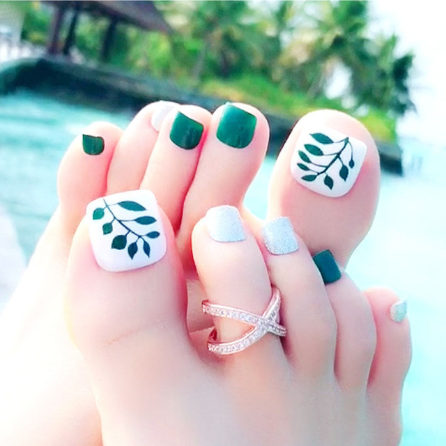 Focallure Summer Leaves False Toe Nails Tips For Nail Art Decoration