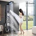 Schwarz LED Licht Dusche Wasserhahn Badezimmer SPA Massage Jet Dusche Spalte System Wasserfall Regen Dusche Panel Bidet Sprayer Tap