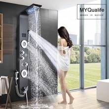 Czarna bateria prysznicowa z podświetleniem LED łazienka SPA strumień masujący kolumna prysznicowa System wodospad deszczownica Panel rączka bidetowa z kranu