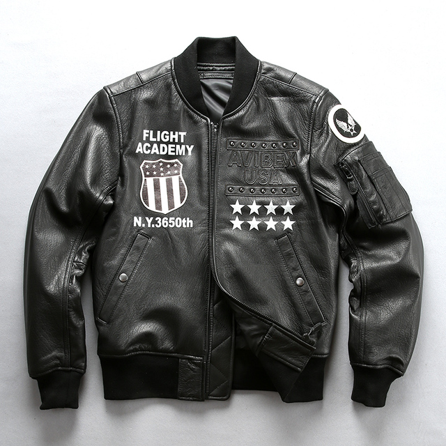 bea0aa90 America MA1 flight leather jacket men rivet pattern pilot jacket goat skin  genuine leather coat men stylish bomber jacket male