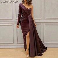 ANGEL NOVIAS Abendkleider Saudi Arabic Women One Shoulder Purple Evening Dresses 2018 Avondjurken 2018 Custom Made