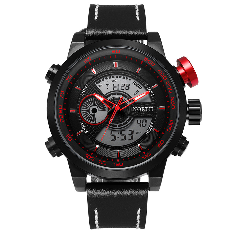 Mens Watches Top Brand Luxury NORTH Men Military Sport Luminous Wristwatch Chronograph Leather Quartz Watch Relogio Masculino mens watches top brand luxury skmei men military sport luminous wristwatch chronograph leather quartz watch relogio masculino