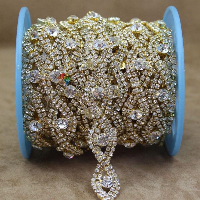 Aliexpress Com Buy 1440pcs Gold Bottom Crystal Clear: Aliexpress.com : Buy 10yards Silver Gold Metal Czech Clear