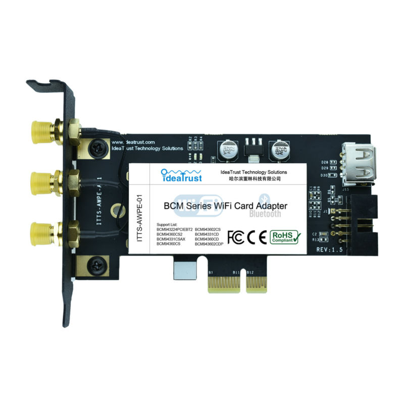 BCM943602CS 2.4&5G 3 Antenna 1300Mbps BT4.1 WiFi Wireless Network Card For Desktop Mac OS Hackintosh PK BCM94360CD