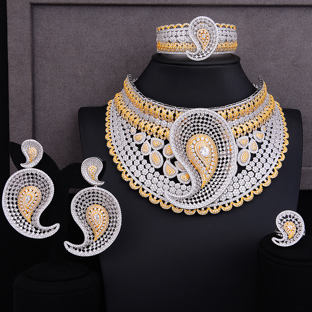 missvikki Unique Design Hollow Women 4 PCS Big Necklace Bangle Earrings Ring Jewelry Set Wedding Engagement Party Show Jewelry