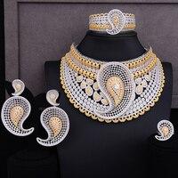 missvikki Unique Design Hollow Women 4 PCS Big Necklace Bangle Earrings Ring Jewelry Set Wedding Engagement Party Show Jewelry