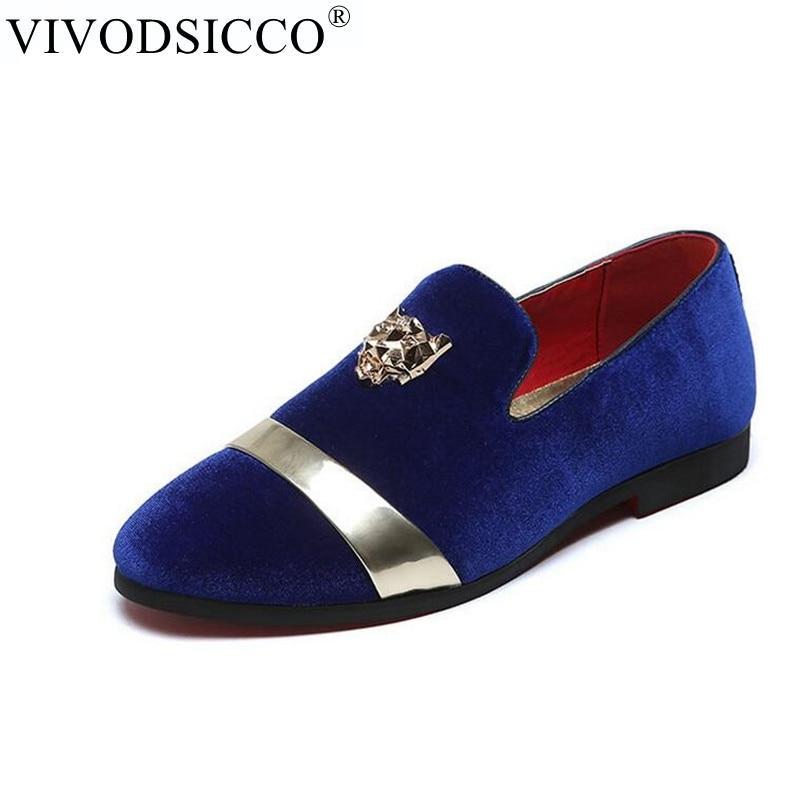 VIVODSICCO Fashion Men Party And Wedding Handmade Loafers Men Velvet Shoes With Tiger and Gold Buckle Men Dress Shoe Men's Flats цены