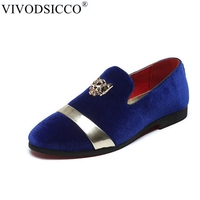VIVODSICCO Fashion Men Party And Wedding Handmade Loafers Men Velvet Shoes With Tiger and Gold Buckle Men Dress Shoe Men's Flats