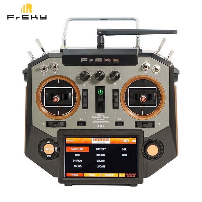 FrSky Horus X10 16 Channels Transmitter TX Remote Mode 2 Left Hand Throttle Sliver & Amber Color for RC Helicopter Airplane Toy frsky horus amber x10s 2 4g 16ch transmitter tx built in ixjt module for fpv aerial photography rc helicopter drone