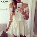 Sexy Strapless Women Summer Lace Dress Off Shoulder Backless Party Chiffon Mini Short Dresses Vestido De Festa Plus Size White
