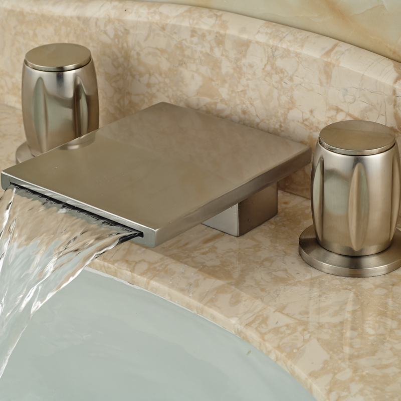 Rectangle Waterfall Spout Widespread Basin Sink Faucet Deck Mount Brushed Nickel Finished