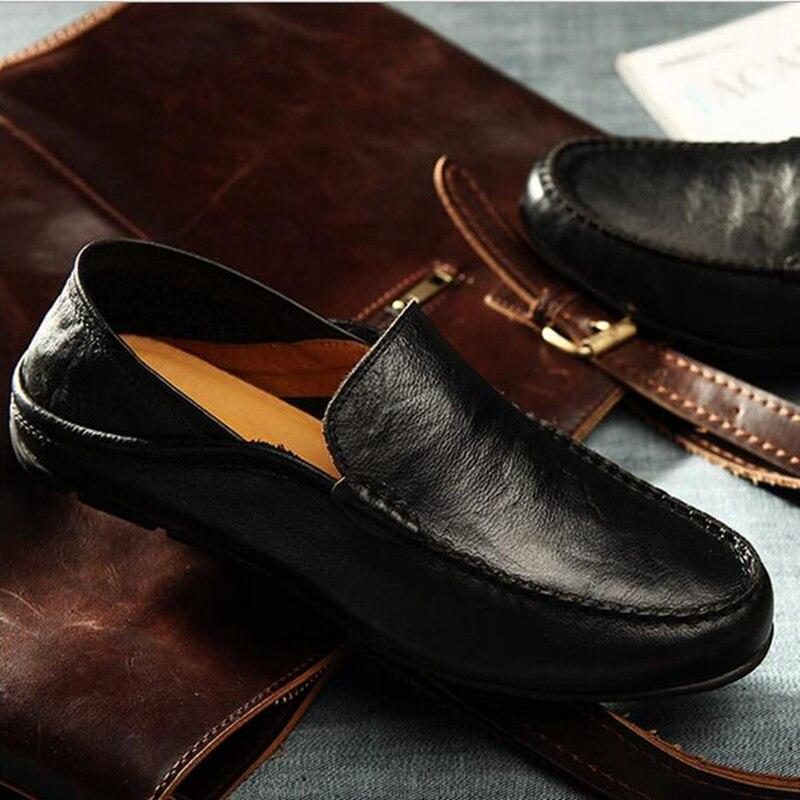 Qianruiti hommes chaussures de conduite pliables sans lacet mocassins souple Flexible chaussures de fumer antidérapant bas hommes chaussures décontractées noir blanc - 4