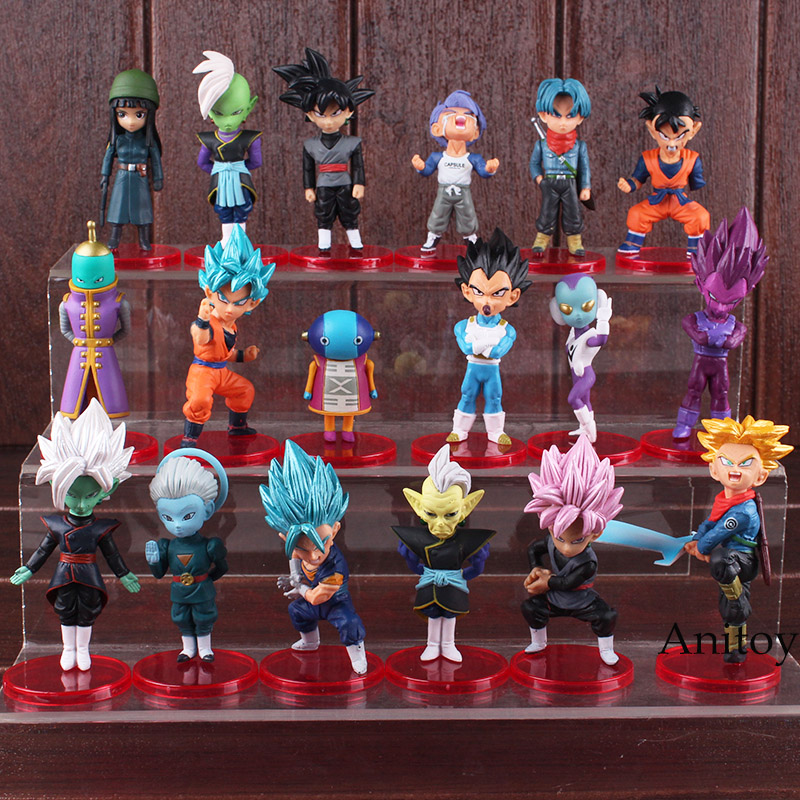 где купить 18pcs/set Dragon Ball Super PVC Figures Toys Super Saiyan Blue Son Goku Gohan Vegeta Trunks Mai Zamasu Black Goku Figure Toys по лучшей цене