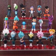 18 pçs/set Super Dragon Ball PVC Brinquedos Figuras Super Saiyan Goku Son Goku Gohan Vegeta Trunks Mai Zamasu Preto Azul figura Brinquedos