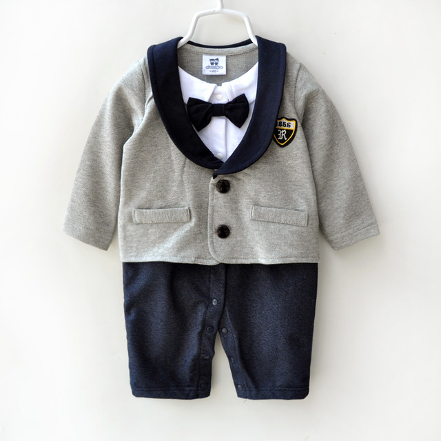 Bebê menino roupas 100% de algodão de alta qualidade gravata borboleta vestido formal corpo terno infantil roupas macacão cavalheiro macacão de bebê recém-nascido