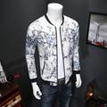 Fashion Bomber Jackets China Style Print Men Autumn Jacket Long Sleeve Slim Fit Men's Coats Baseball Collar Casual Windbreaker