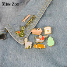 Corgi Luiaard Alpaca Kat Emaille Pin Toast Cactus Boom Merci badge broche Revers pin Denim Jeans overhemd zak Cartoon Sieraden gift(China)