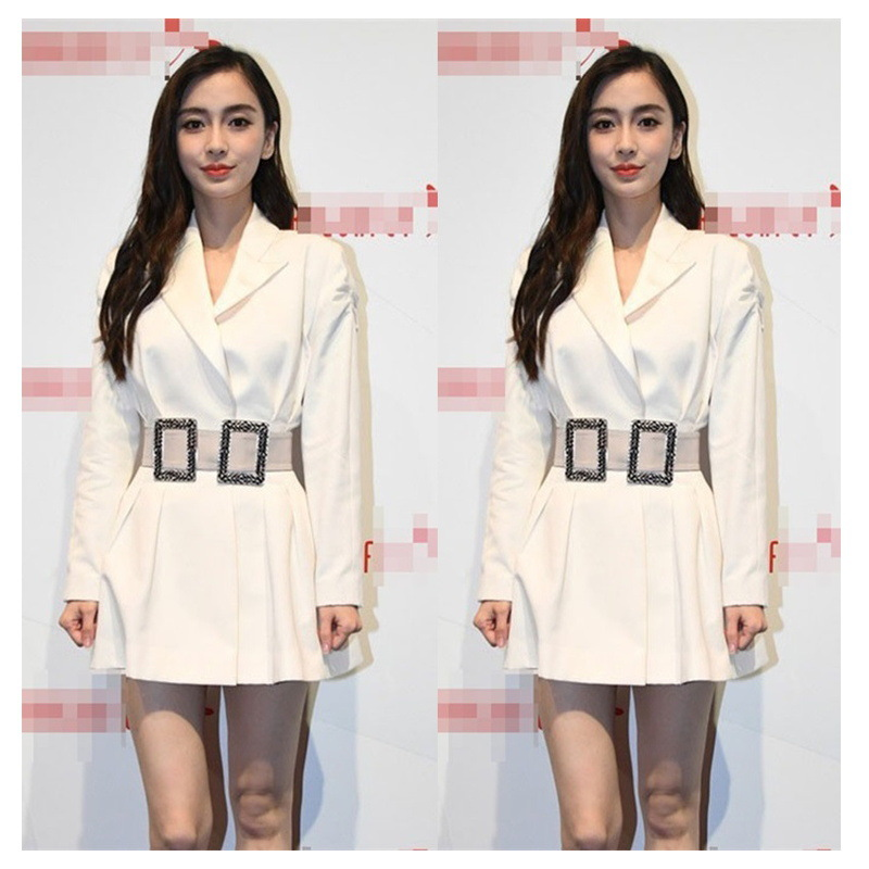 Babyyangying With A Belt Waist Suit Spring Temperament French Minority Dress 2019 Sashes Notched Women Jackets And Coats Suit