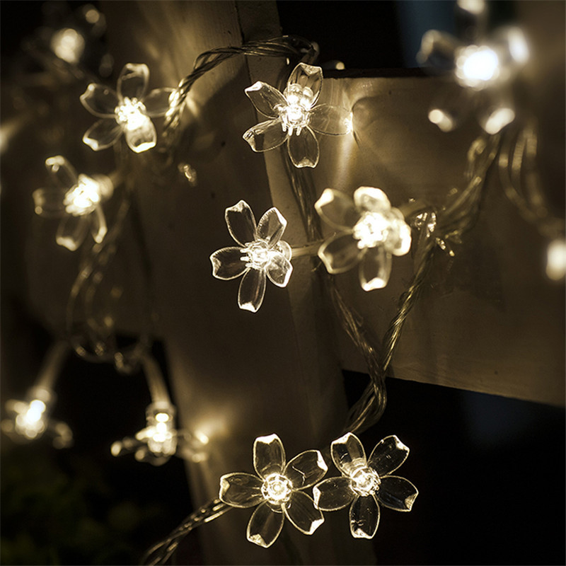 Novelty Cherry Blossom 4M 20 LED Flower String Light Fairy Lights LED Lamp  220V Power Wedding Party Garland Tree Decoration