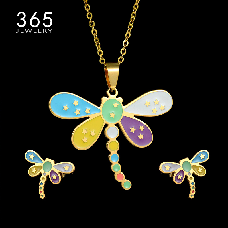 Kids Jewelry Stainless Steel Cartoon Dragonfly Necklace and Earring Set Punk Star Animal ...