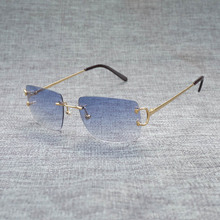 цены на Vintage Rimless Square Sunglasses Men Eyewear Accessories Oculos Shade for Summer Outdoor Metal Eyeglasses for Beaching Driving  в интернет-магазинах